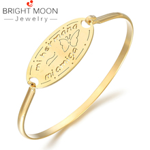 BRIGHT MOON 2019 Hot Sale Zirconia Gold Stainless Steel Animal Bracelets for Women Everyday Jewelry Butterfly Best Wedding Gift