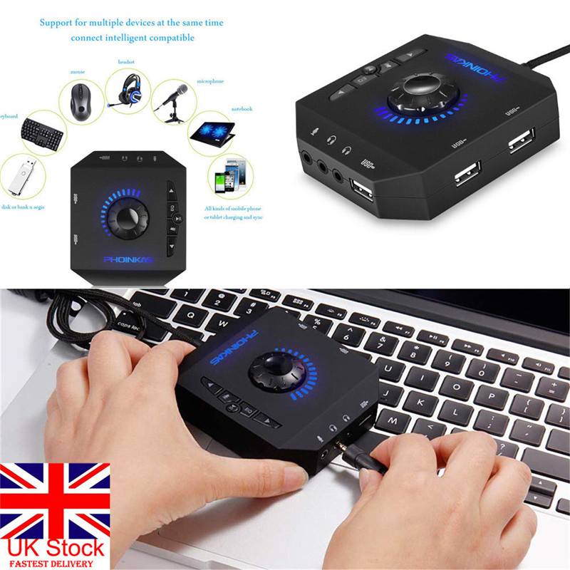 UK USB Hubs Audio Adapter Converters External Stereo Sound Card with 3 5mm Headphone For PC