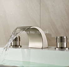 New Arrive Brushed Nickel Deck Mounted Waterfall Basin Faucet Good Quality Widespread Bathroom Basin Sink Faucet