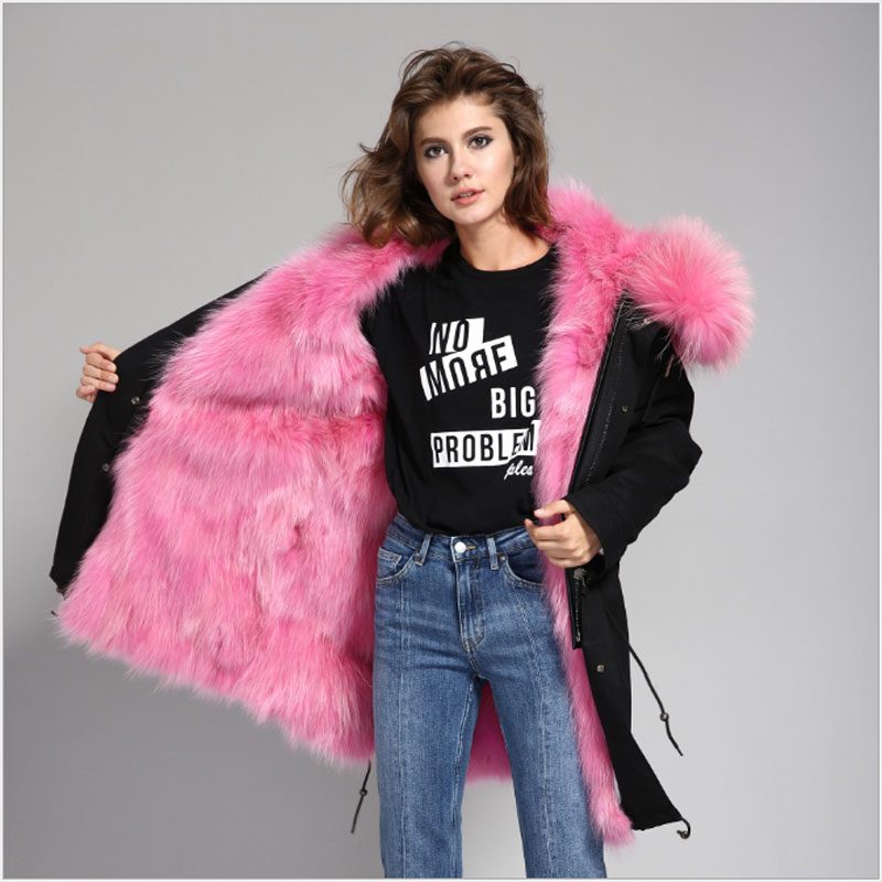 Big Real Raccoon Fur Collar Hooded Luxurious Thick Real Fur Lining Parkas Long Winter Denim Jacket For Women Ladies Coat Outwear real fox fur liner winter jacket women new long parka real fur coat big raccoon fur collar hooded parkas thick outerwear