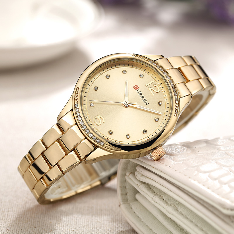 CURREN 2018 Women Watches New Luxury Casual Alloy Quartz Wristwatch Steel Band Ladies Clock Crystals Gifts Relogios Feminino