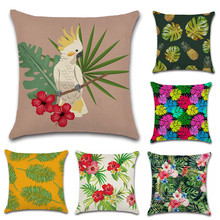 Nordic style Green Tropical plants bird flower Cushion Cover Decoration for home Sofa chair Pillow Cover friend kids girl gift nordic style tropical plants flamingo green leaf cushion cover decoration for home sofa chair car pillow case friend kids gift