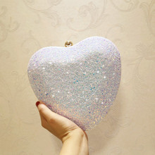 ETAILL Glitter Sparkling Full Sequins Nude Evening Bag Party Clutch Bag  Pink Blue White Heart Shape 315a179cf09b