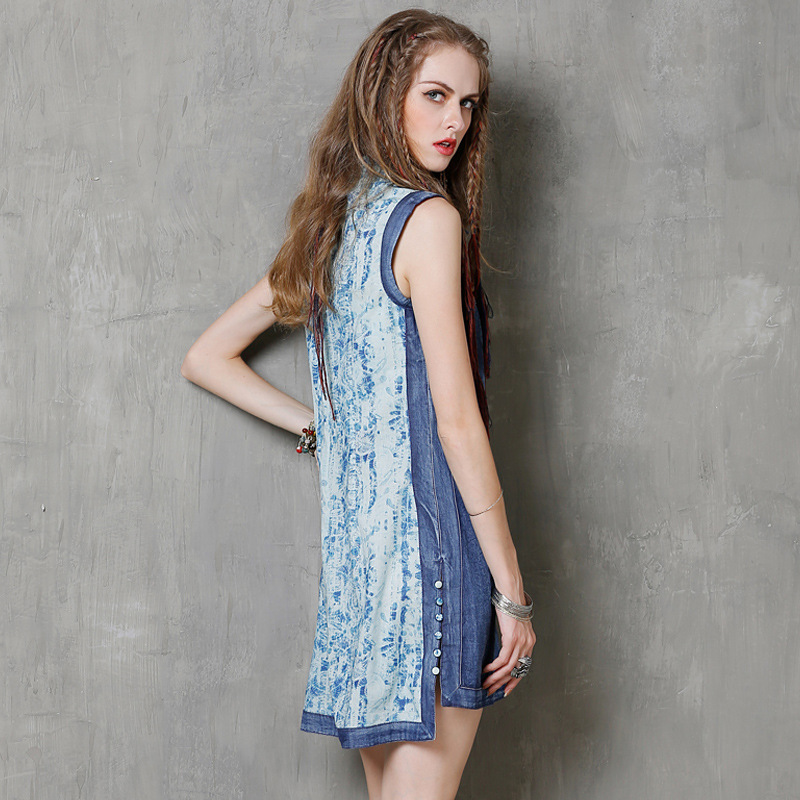 05907cce80c Femmes Robe Mandarine Robes Femelle Imprimé 2019 Patchwork Floral Denim  Mince Motif Jeans Col Bleu Mode ...