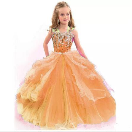New Ball Gown Spaghetti Straps Flower Girl Dresses Beads Crystal Kids Pageant Dress Tulle Ruffles First Communion Dress цена и фото