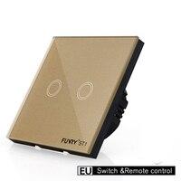 EU Standard Touch Switch Wall Light Switch Wireless Remote Control Control Light Switch Touch Button 2