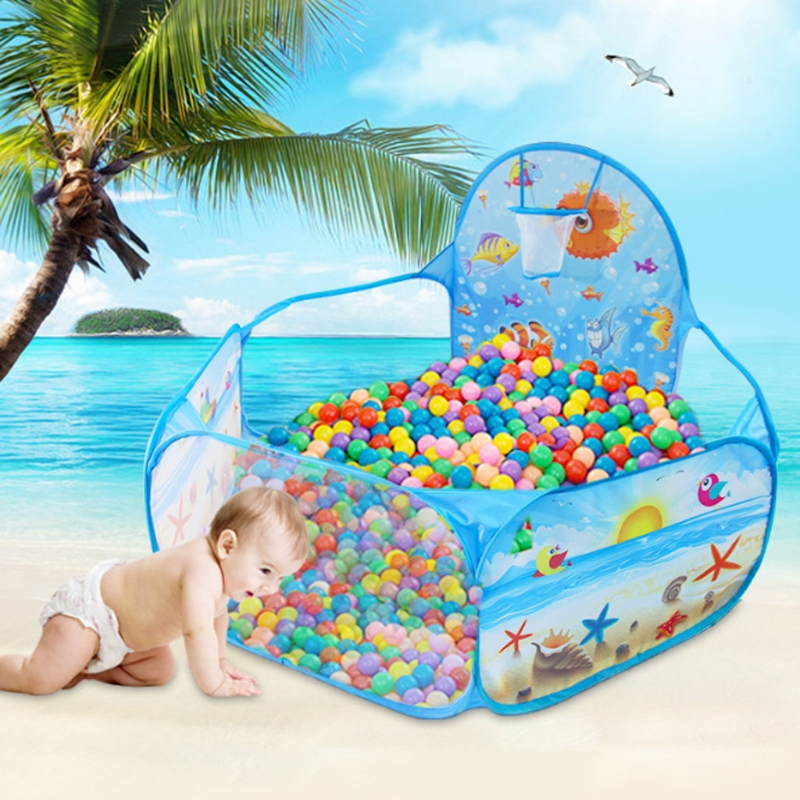 New Cartoon Tent Ocean Series Game Ball Pits Portable Pool Foldable For Baby Kids Outdoor Sports Educational Toy With Basket
