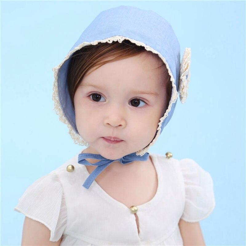 Children Bonnet Infant Girls Blue Hat with Flower Sunbonnet Kids Spring  Christening Hat Handmade Toddler Sun Hat-in Hair Accessories from Mother   Kids  on ... a6b654e22378
