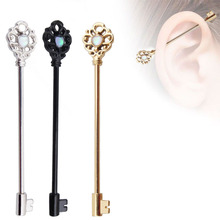 New Industrial Cartilage Piercing Bar Stainless Steel Opal Stone Key Barbell Long Straight Silver Gold Women Men Body Jewelry