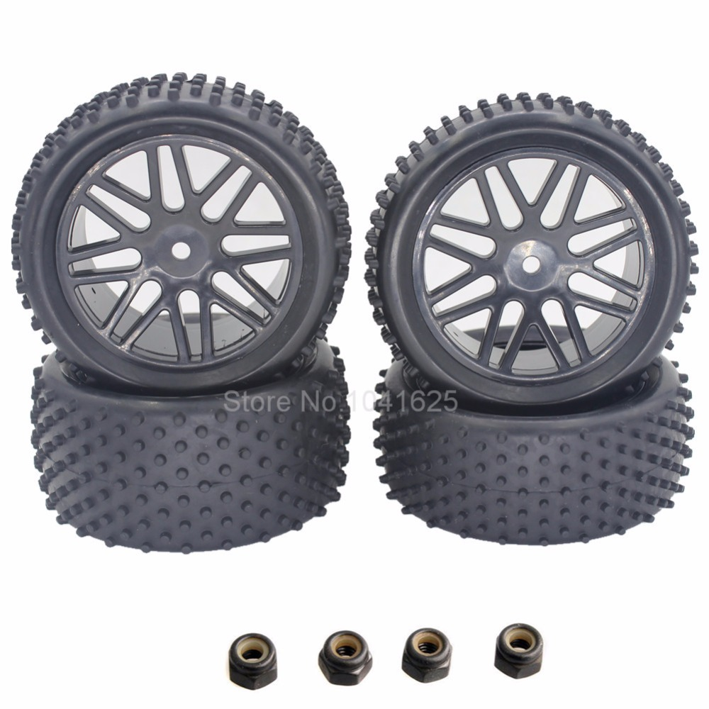 4pcs/Pack RC Tires & Wheel Rims 12mm Hex Foam Insert For 1/10 Buggy Car HSP XSTR Warhead Redcat Tornado S30 Shockwave Nitro clutch bell double gears 16t 21t hsp 02023 1 10 nitro power rc car on off road buggy sonic xstr warhead fit redcat exceed