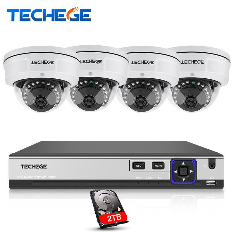 Techege 4CH POE System 4K POE NVR 4MP POE IP Camera Vandalproof 2560*1440 Night Vision Video Security Surveillance System Xmeye