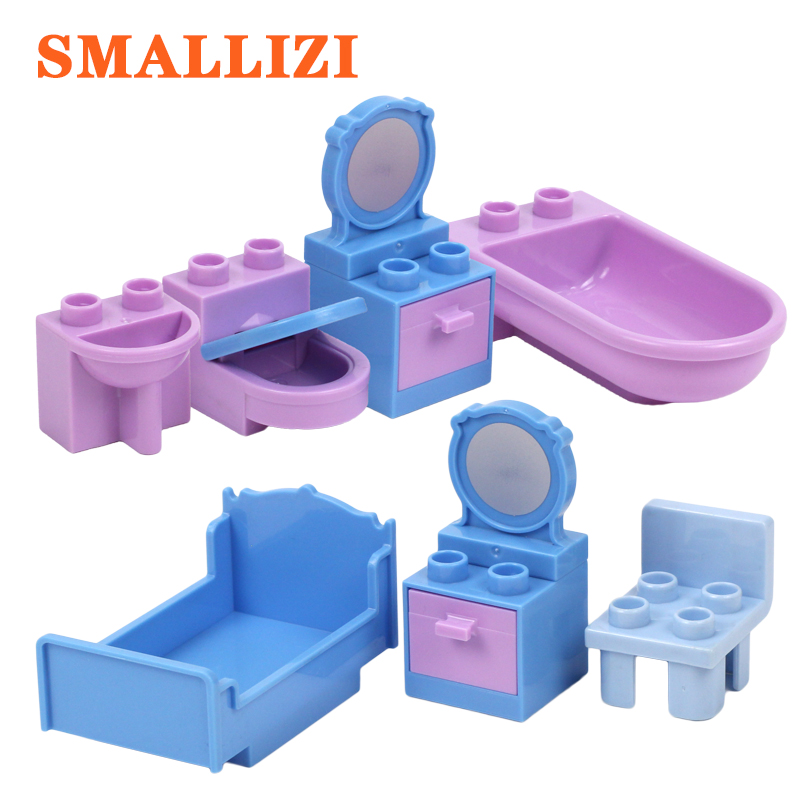 Furniture Toilet Bathroom Wash Basin Bed Mirror Wardrobe Cabinet Accessories Building Blocks Compatible Duplo Bricks Parts Toys