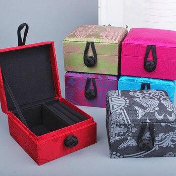 Quadratische Holzkiste | Natur Mulberry Silk Chinesischen Geschenk Box Platz Dekorative Holz Ring Lagerung Box High-End Luxus Schmuck Verpackung Box 9x9x6 Cm