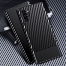 Case For Samsung Galaxy Note 10 10+ Plus 9 TPU Carbon Fiber Texture Bumper Shockproof Fitted Cover Protective Phone