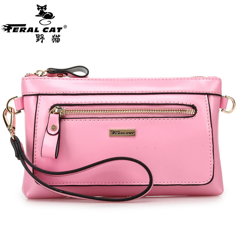 Genuine Leather Women Bag 2017 Fashion Designer Wristlet Chain Shoulder Bags Crossbody Handbags Pink Sky Blue Free Shipping 5001