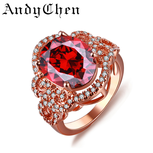 AndyChen Jewelry Rose Gold Color Vintage Wedding Rings for Women Luxury Crystal Bijoux Bague Accessories ASR241