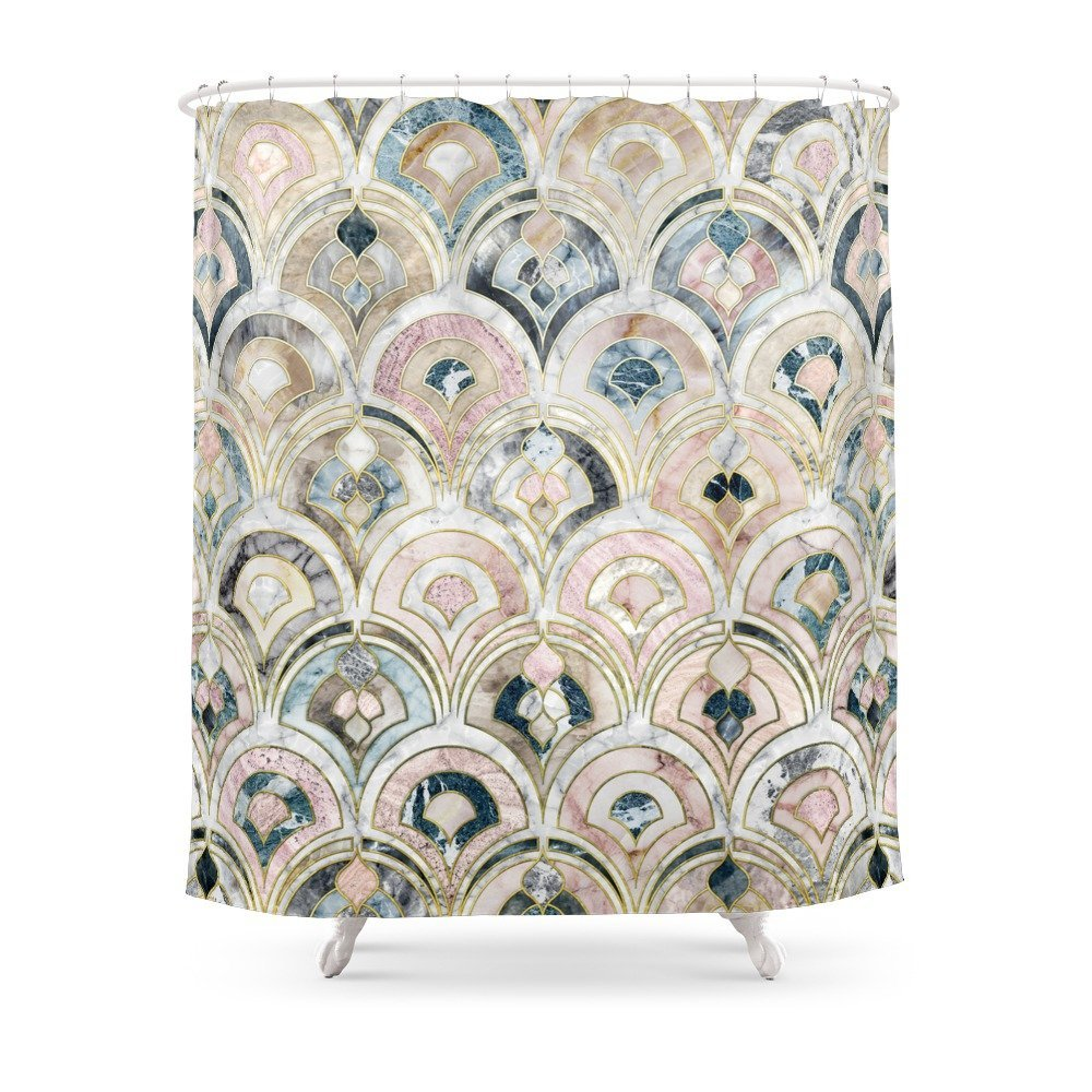 Art Deco Marble Tiles In Soft Pastels Shower Curtain Curtains From Home Garden On Aliexpress
