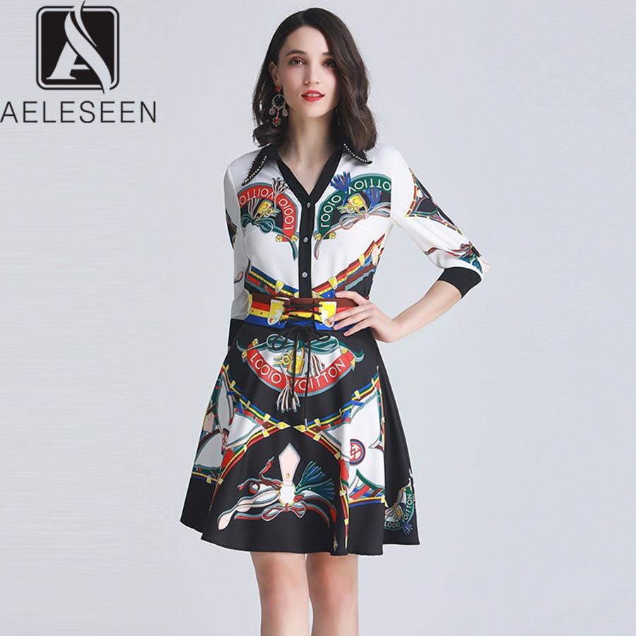 AELESEEN Runway Designer Sets 2019 Summer New Fashion 3 4 Sleeve Flower Print Beading V Neck