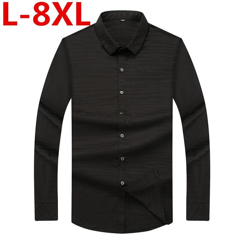 New big size 8XL 7XL Design Super High Quality Cotton Men Shirts Business Casual Shirts Luxury Brand Oxford Men Dress Shirts