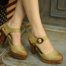 2016 spring genuine leather handmade womens shoes vintage thick heels high sandals strap platform women pumps