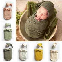 Cotton Newborn Wrap Sleeping bag Baby Photography Props Wraps+Hat Stretch Knit Wrap Newborn Photo Wraps Cloth Accessories(China)
