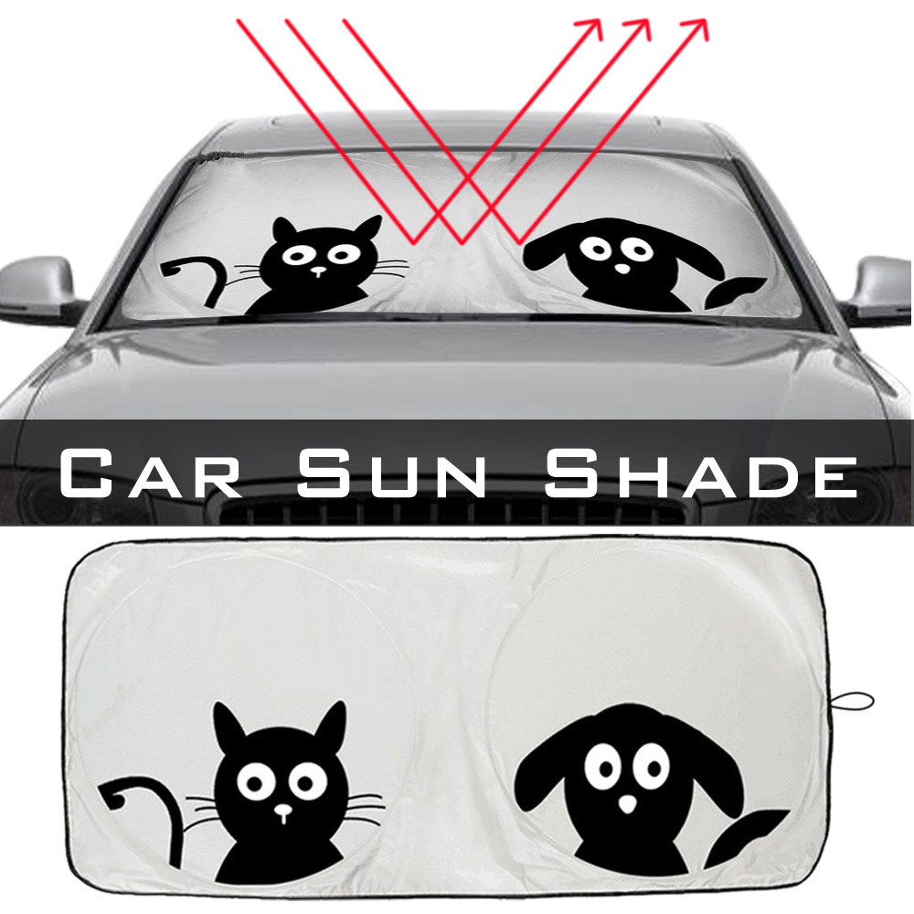 Front Cartoon Car Window Sunshade Universal Folding Medium Auto Sun Visor Windshield Block Cover