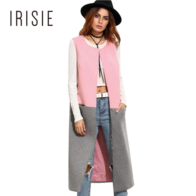 IRISIE Apparel Chic Slim Office Women Outwear Pink Gray Color Block Contrast Coat Autumn Sweet Casual Soft Female Trench Coats