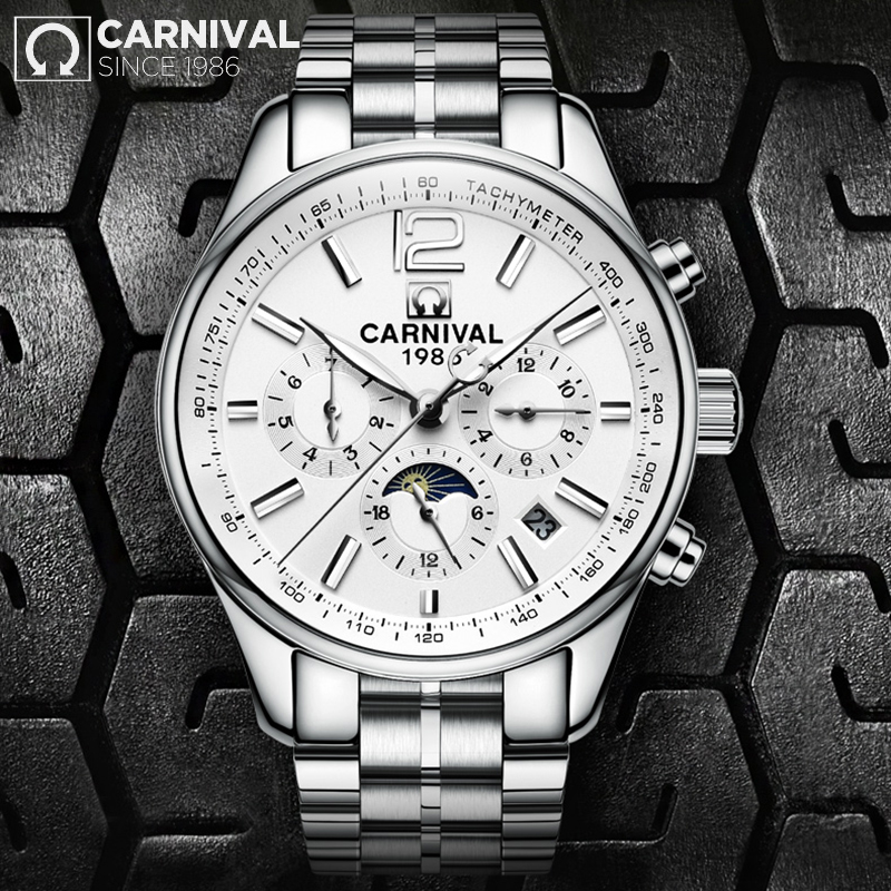 relogio masculino 2018 CARNIVAL Top Brand New Mechanical watches Men Fashion Waterproof Luminous Watch with Calendar Moon Phaserelogio masculino 2018 CARNIVAL Top Brand New Mechanical watches Men Fashion Waterproof Luminous Watch with Calendar Moon Phase