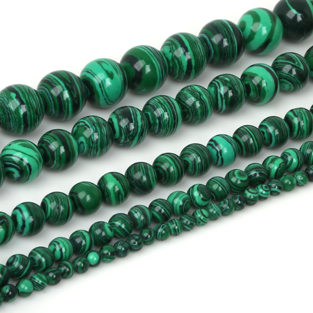 Natural Malachite Bead Spacer Loose Beads Round DIY Jewelry 4 6 8 10 12mm