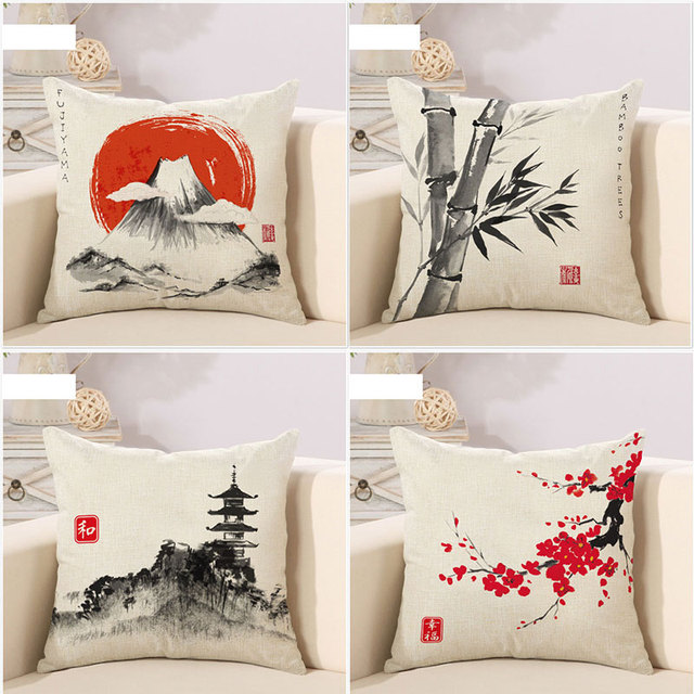 Collection Japanese Classic Landscape Nature Great Art Painting Inspiration Pictures Of Decorative Pillows