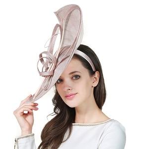 Image 3 - FS Sinamay เคนตั๊กกี้ DERBY หมวกปีกกว้างขนาดใหญ่ Handmade ผ้าลินินหมวก Fascinator VINTAGE Elegant PARTY ค็อกเทลหมวก