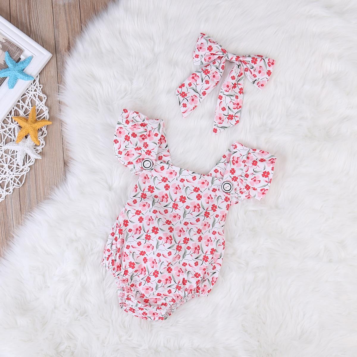 0-24M Floral Newborn Baby Girl Clothes Set Cute Bebe Jumpsuit Princess Outfits Romper Bodysuit +Headband Bow 2PCS Summer Suit  недорого