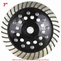 180mm Diamond Turbo Row Cup Wheel For Concrete Masonry Diameter 7 Inch Bore 22 23mm Sintered