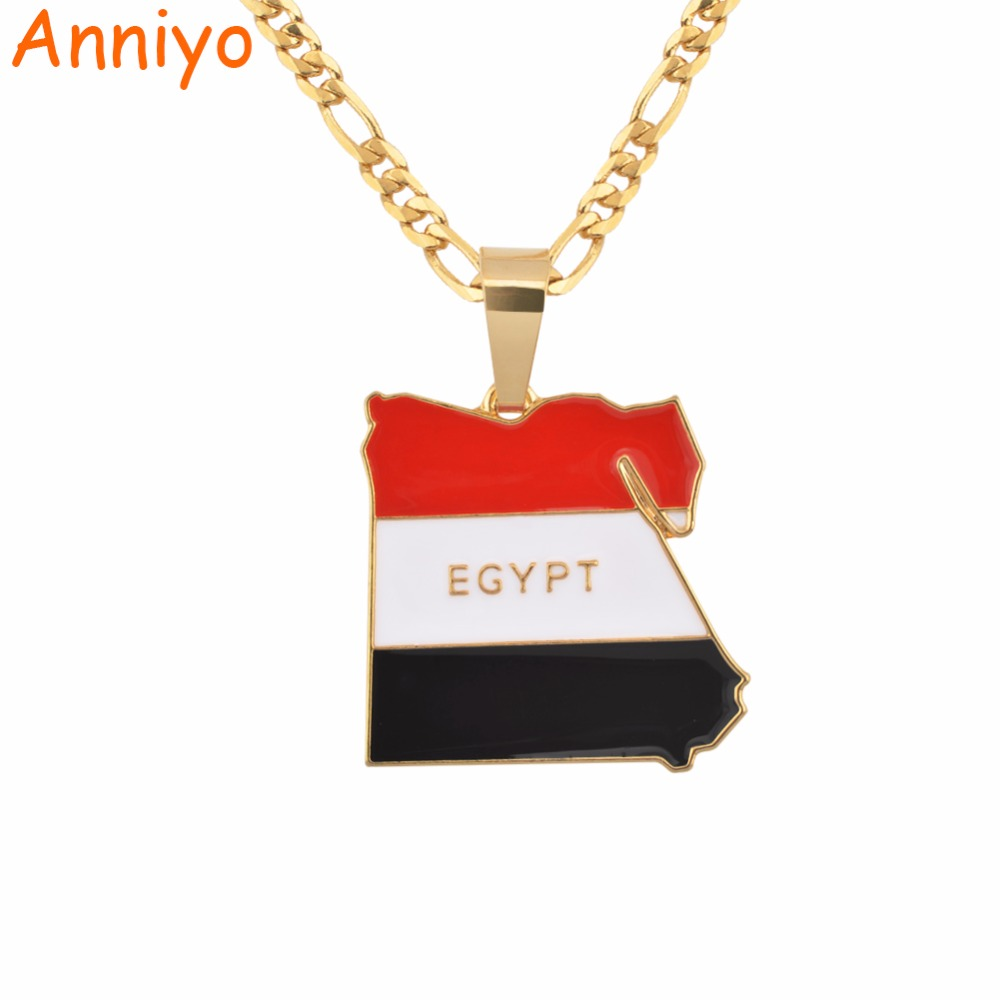 Anniyo Country Egypt Map & Flag Necklace Pendant for Women/Men Gold Color Jewelry Egyptians Gifts #116406 anniyo qatar necklace and pendant for women girls silver color stainless steel gold color ethnic jewelry gifts 027621