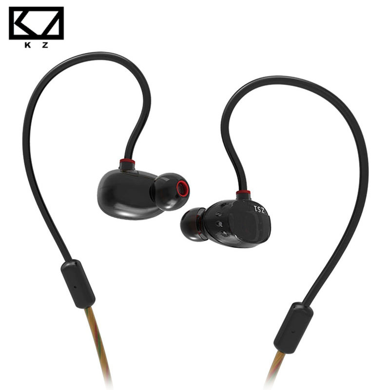 KZ ZS1 Dual Dynamic Driver Monitoring Noise Isolating Stereo In-Ear Monitors Earphones HiFi Earphone With Microphone for Phone  dhl free 2pcs black white m6 pro universal 3 5mm wired in ear earphone noise isolating musician monitors brand new headphones