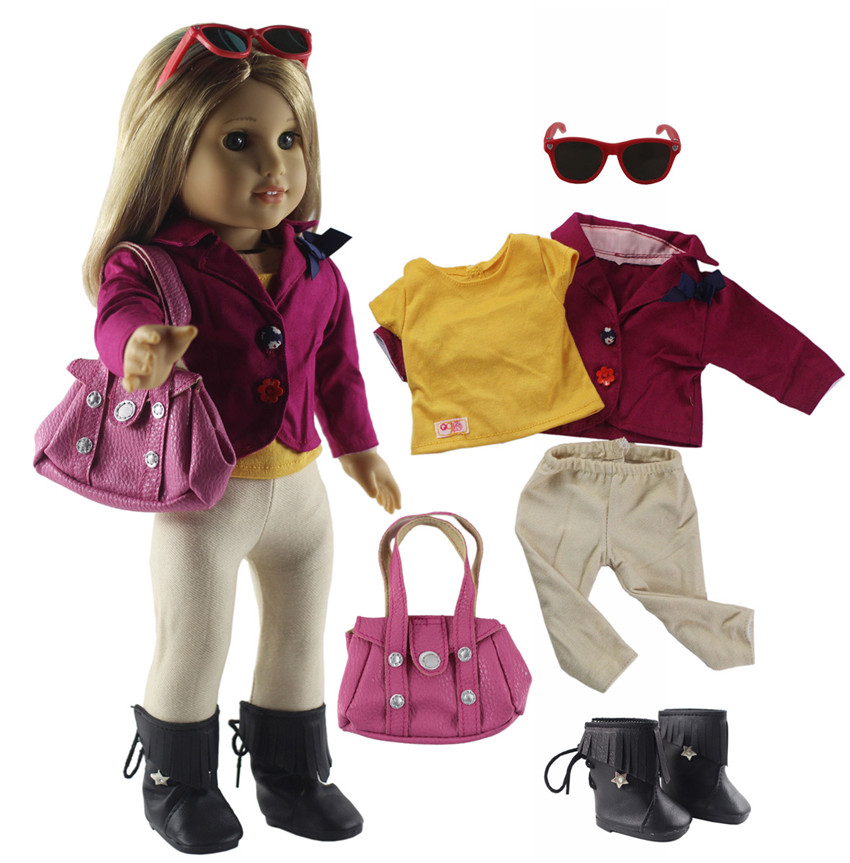 New 6 PCS Doll Clothes+1 Pairs Glasses+1 Pairs Boots+1 Bag for 18 Inch American Girl Bitty Baby Doll X92