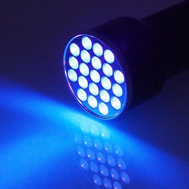 UV Flashlight 21LED 12LED UV Light 395-400nm LED UV Flashlights linterna torch Ultraviolet Black Light lamp 5