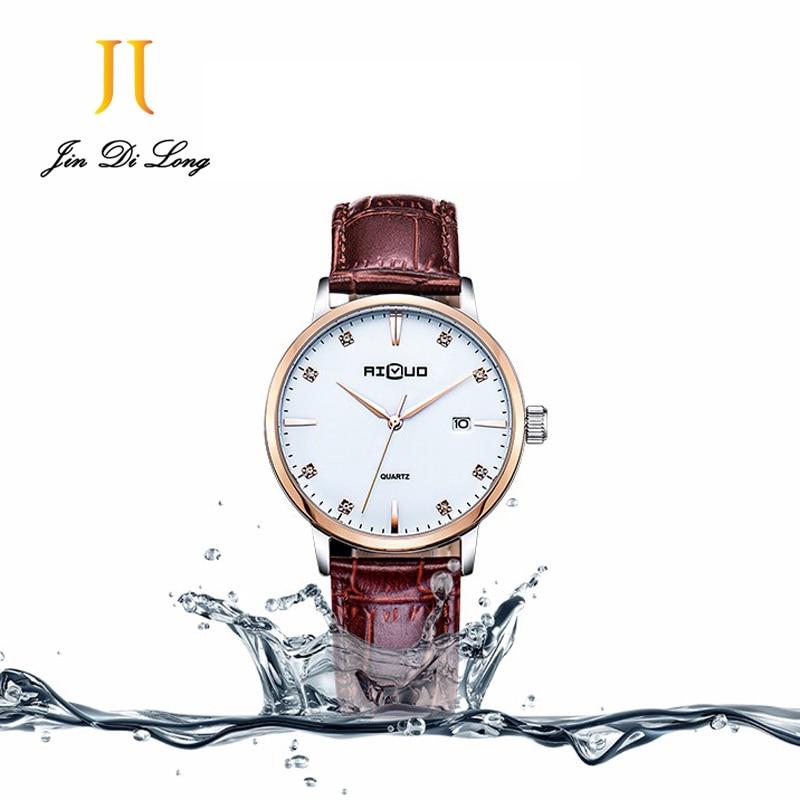 Ailuo Fashion Ultra Thin Classic Casual Business Watch Men Quartz Diamond Wristwatch Leather Strap Calendar Waterproof 50M