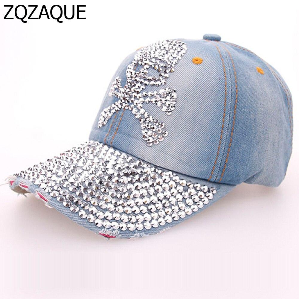 2018 Sommer Glänzende Handbohrmaschine Kappen Für Frauen Beiläufige Mädchen Denim Baseball Caps Fashion Schädel Muster Hüte Kostenloser Versand Sy571 Elegante Form