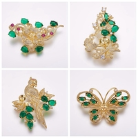 4 Styles Brass Micro Pave Cubic Zirconia Brooch Jewelry DIY Accessory Finding for Half-drilled Bead Flower Bird Butterfly Golden
