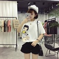 Kesebi 2017 Summer Female Printing Loose Students Tops Women Korean Adorable Cute Cartoon Short Sleeve T-shirts JMR028#7028