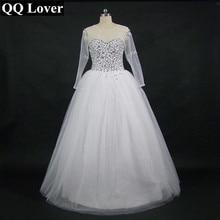 QQ Lover Wedding Dress 2017 Vestido De Noiva Long Sleeve Bridal Gown Rhinestones Pearls Crystals Ball