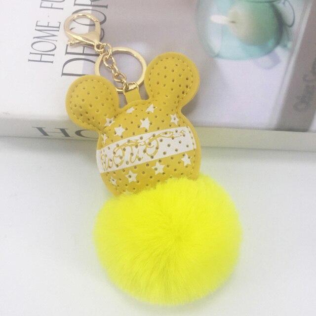 100 peças & 6 Cores PU Cabeça de Rato Keychain pele Mulheres Fofo Chaveiro Chaveiro Saco de Pele De Coelho Bola Pompom presente da menina