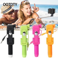 OOTDTY Selfie Sticks Monopod Holder Mini Fold Handheld Selfie Wired Extendable Stick For Smartphone