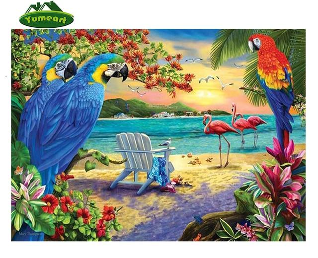Diy 3d Diy Diamond Painting Blue Parrot And Flamingo Cross Stitch