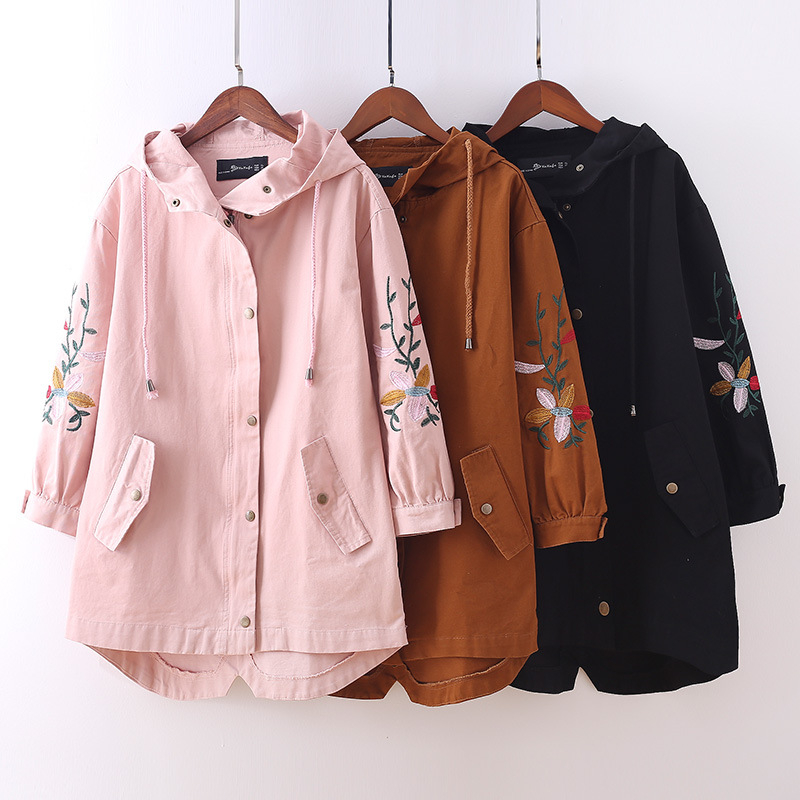 Plus Size 4XL 5XL Embroidery Women Hooded Trench Coat 2018 Casual Spring Autumn Oversized Outwear Long Windbreaker Female A470