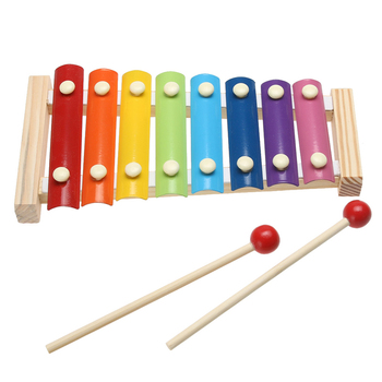 Wooden Frame 8 Scales Knocking Piano with 2 Rods Colorful Kids Musical Toy Music Instrument Piano Early Learning Xylophone Toy