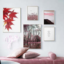 Pink Plant Mountain Forest Leaf Wall Art Canvas Painting Nordic Posters And Prints Landscape Pictures For Living Room Decor