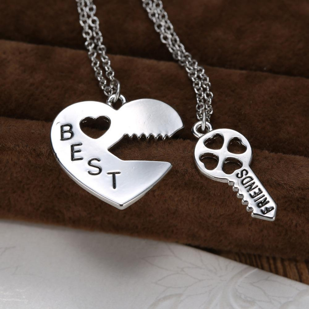 vintage unique personalized puzzle necklace silver heart lock and