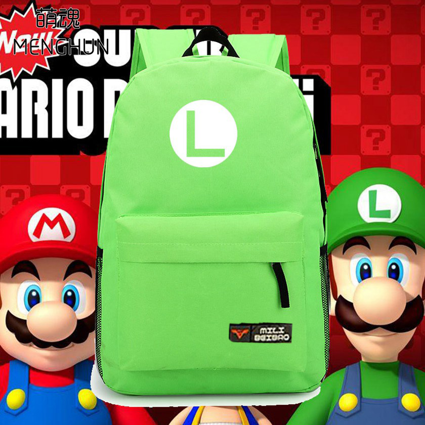 new design Super mario brothers LUIGI Green nylon backpack Luigi concept retro game fans daily use backpacks NB063 super mario bros plush green shell backpack bag purse cosplay super funny and cool rare
